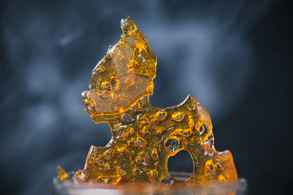 Shatter - Shatter is the result of a solvent-based extraction that separates the Cannabinoids and Terpenes from the cannabis plant. It is extremely versatile - several other concentrates start out as Shatter, such as Wax and Crumble. It typically has a smooth glass-like texture and can be brittle, but it may also be a little stretchy, resembling taffy. It is generally amber or yellow in appearance.