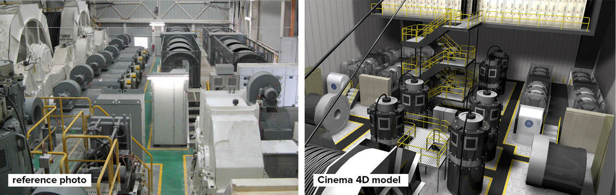 3D models and renders of a dragline interior desalination plant, using photos as reference images.