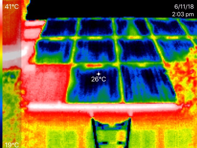 Thermal image showing the cooling effect of the Coolsheets which are placed behind the PV panels. Note that the PV panel in the bottom left corner did not have a cooling panel behind it, and was therefore hotter.