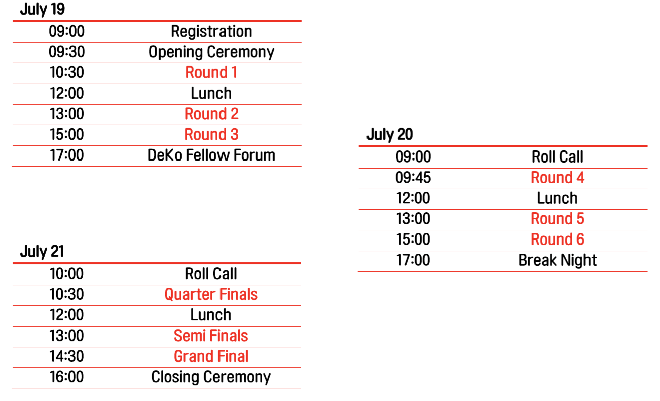 Tournament Schedule - Debaters will be fully engaged in fruitful debates about issues that are significant in the global society in Debate Korea Open 2019.2019년 Debate Korea Open에서는 국제사회에서 중요한 문제들에 대한 다양한 토론이 이루어질 것입니다.