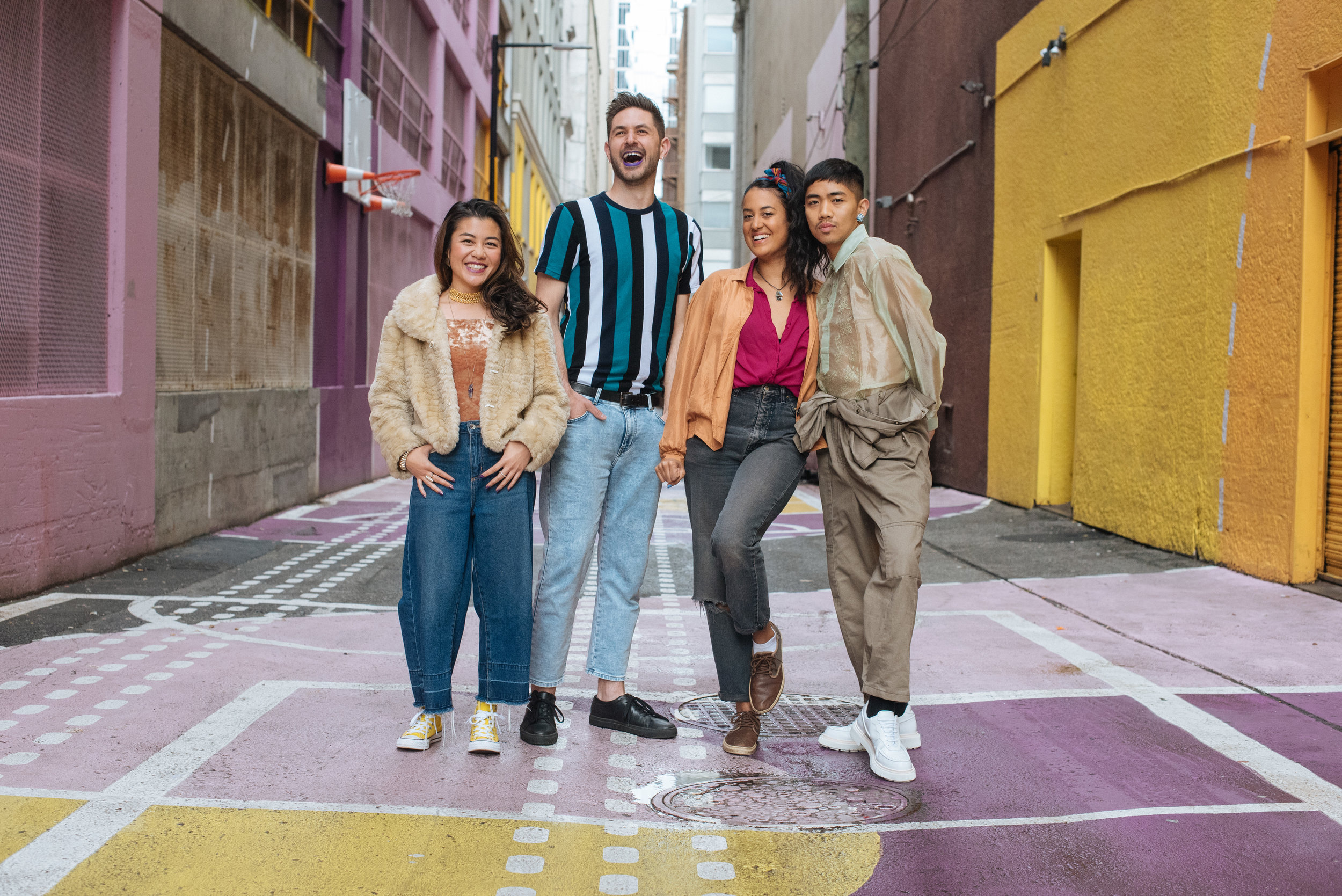 Public Disco Laneway Series curators: Char Loro, Nick Collinet, Larisa Sanders, and Ralph Escamillan photographed by Sam Steele.