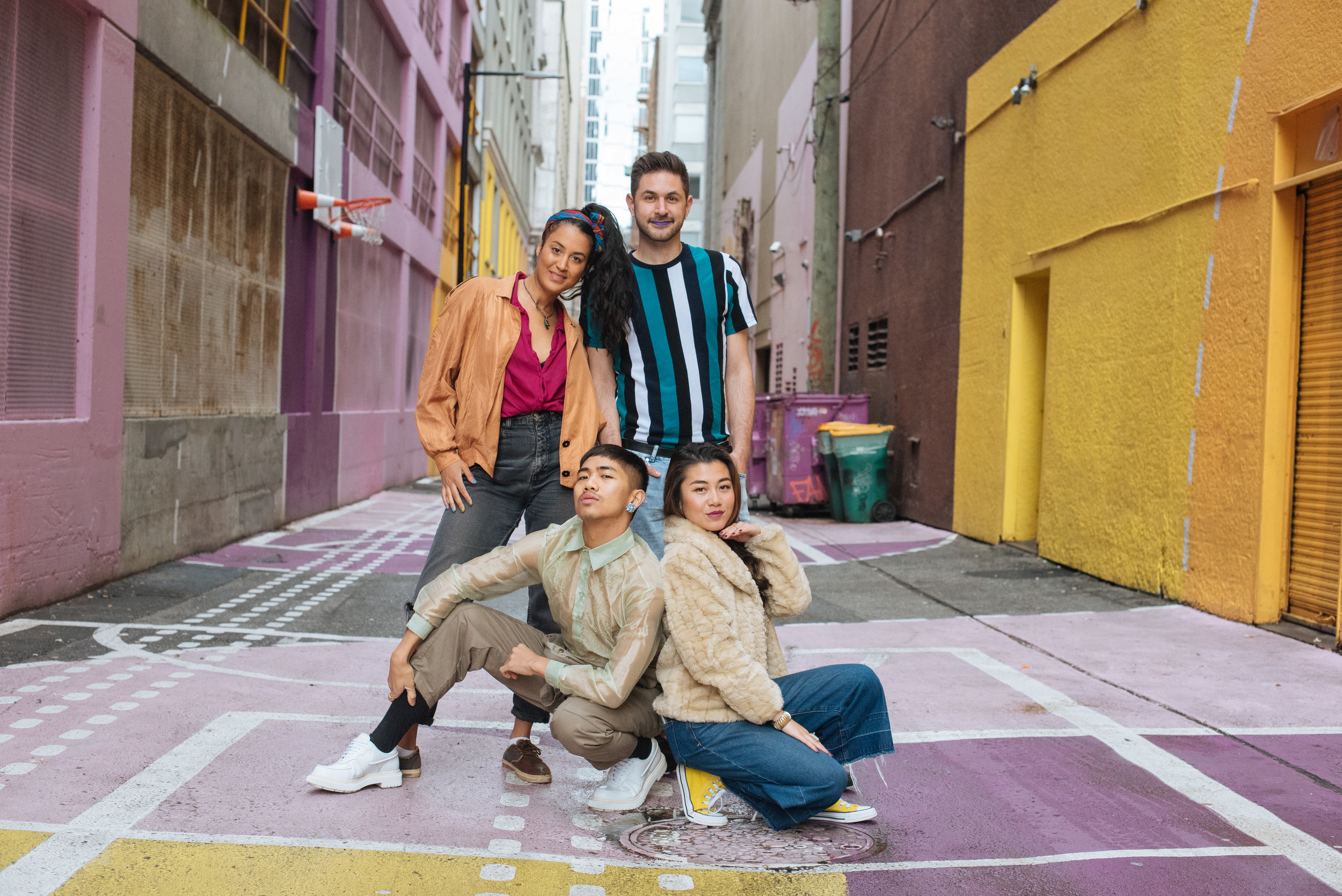 Public Disco Laneway Series curators: Larisa Sanders, Ralph Escamillan, Nick Collinet, and Char Loro photographed by Sam Steele.