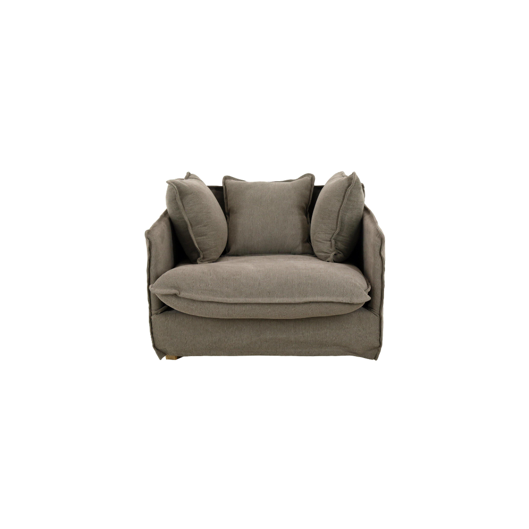 Single Seater Sofa With Thin Arms - Taupe   BISQUE TRADERS