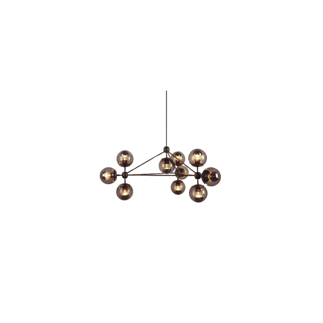 Modo Chandelier - 3 Sided, 10 Globes   SPACE