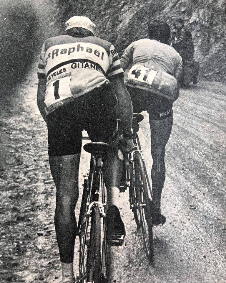Jacques Anquetil being led by Federico Bahamontes during stage 17 to Chamonix in the 1963 Tour de France