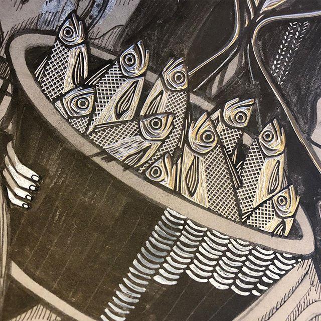 Current mood: basket of gormless herring. . . . #printmaking #printmaker #ukprintmakers #peopleofprint #printpower #get_imprinted @artyinc #linocut #linoprint #linoblock #blockprint #reliefprinting #handcarved #handcarvedstamp #illustration_daily #bookillustration #linogravure #linograbado #linoldruck #illustragram #printstagram #mystudiotoday #printstudio #workinprogress #marchmeetthemaker2019 #fishwife #herring