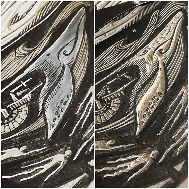 Drawn / Carved... 🐋 / 🐋 . . . #printmaking #printmaker #ukprintmakers #peopleofprint #printpower #get_imprinted @artyinc #linocut #linoprint #linoblock #blockprint #reliefprinting #handcarved #handcarvedstamp #illustration_daily #bookillustration #linogravure #linograbado #linoldruck #illustragram #printstagram #mystudiotoday #printstudio #whale #ghosts #nauticaltattoo #seastories
