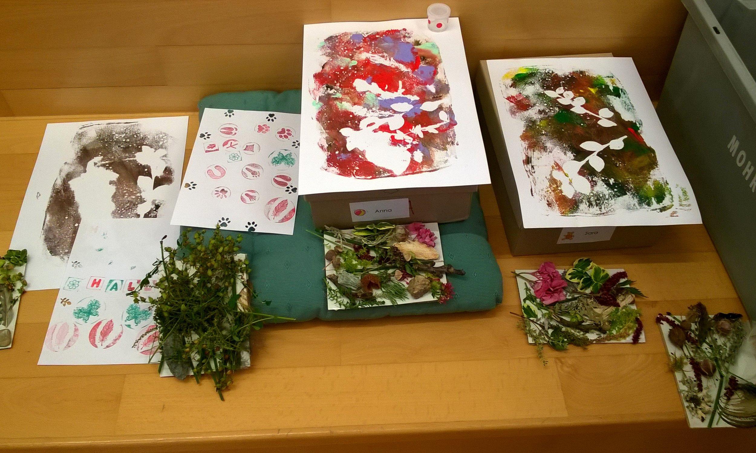 Naturpapier drucken und  Klebebilder herstellen