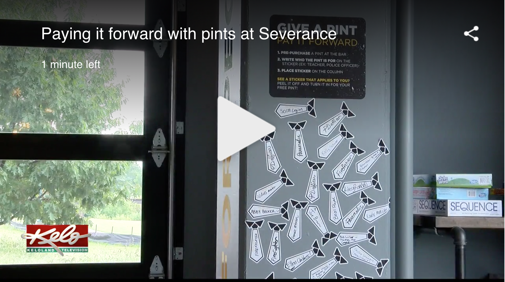 Paying it forward with pints at Severance - August 26, 2019 // Matt Holsen, KELOA local brewery and its guests are paying it forward in a unique way. Severance Brewing Company opened up in downtown Sioux Falls at the beginning of August. On top of crafting new brews, it's also providing visitors with other creative ideas to get excited about like the Pints For People program.