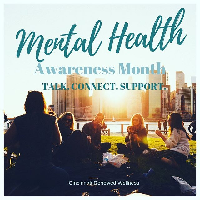 Happy Mental Health Awareness Month! 💙 We love finding ways to celebrate mental health and work toward breaking the stigma! . . . . Talk to your family, friends, coworkers, or neighbors. It's so important to connect to others and seek support when in need. There is no shame in seeking help, only strength 💪🏼 . . . #mentalhealthawareness #mentalhealth #wellness #mentalhealthmonth #cincinnati #strength