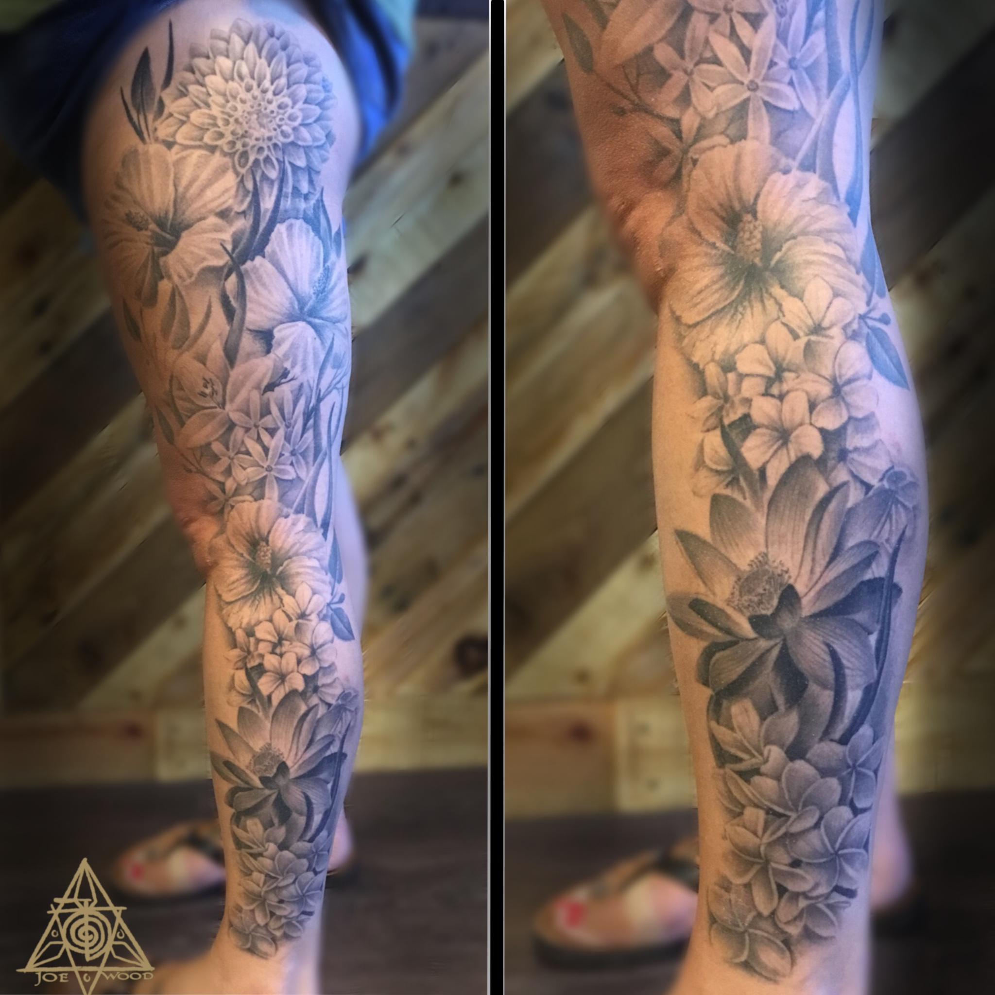 Floral leg sleeve by Joe Wood