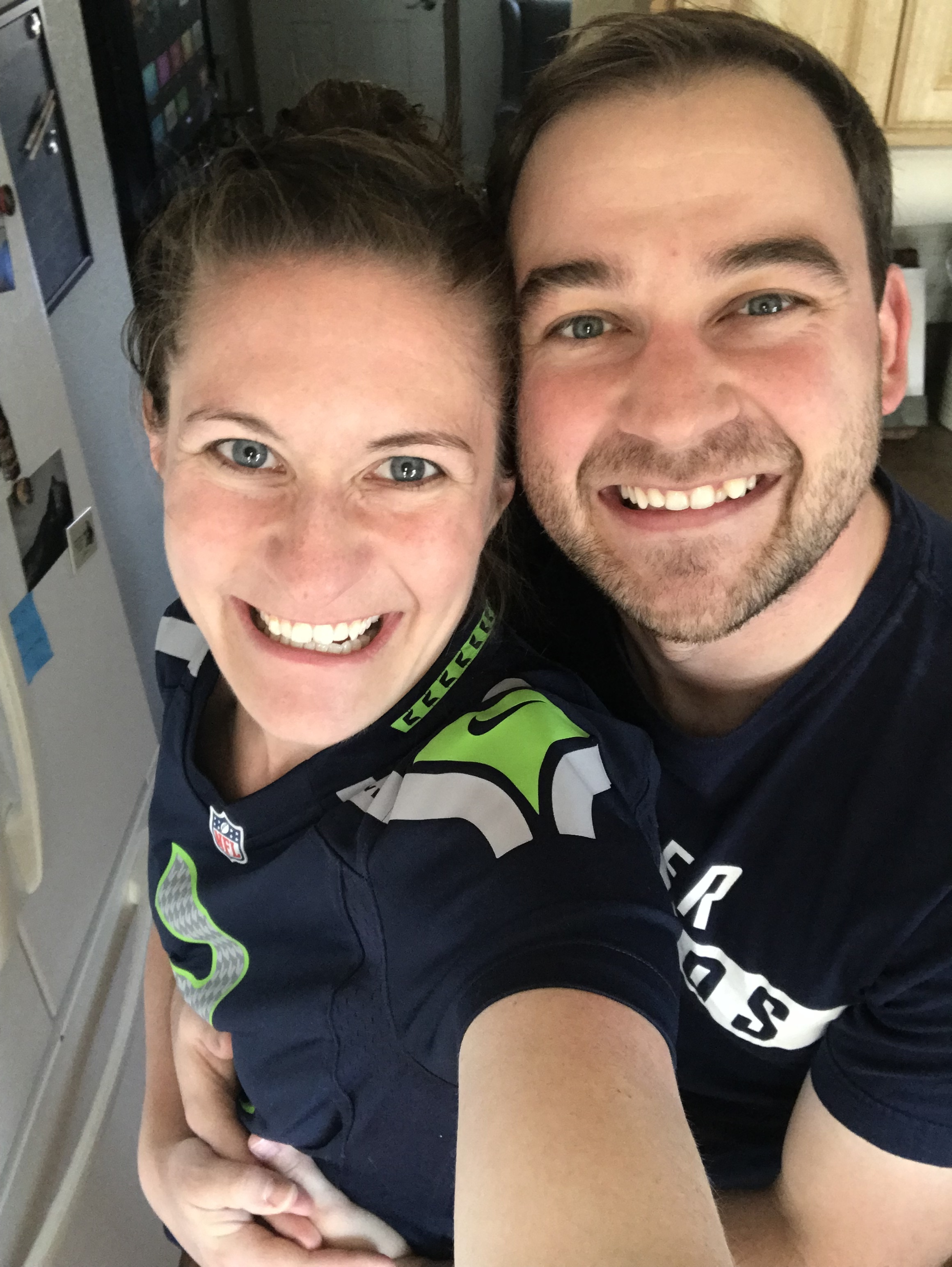 Football season is pretty great around here! Kelsey's a raging Seahawk fan while Jake's a Bronco fan. I think the Seahawk colors are winning him over though…