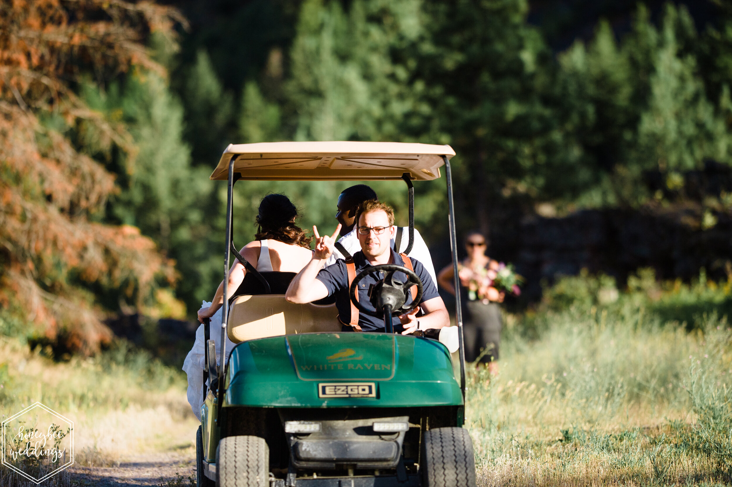 The couple's getaway car to their sunset session was the COOLEST golf cart with the even cooler driver, The Jake! Rock on!