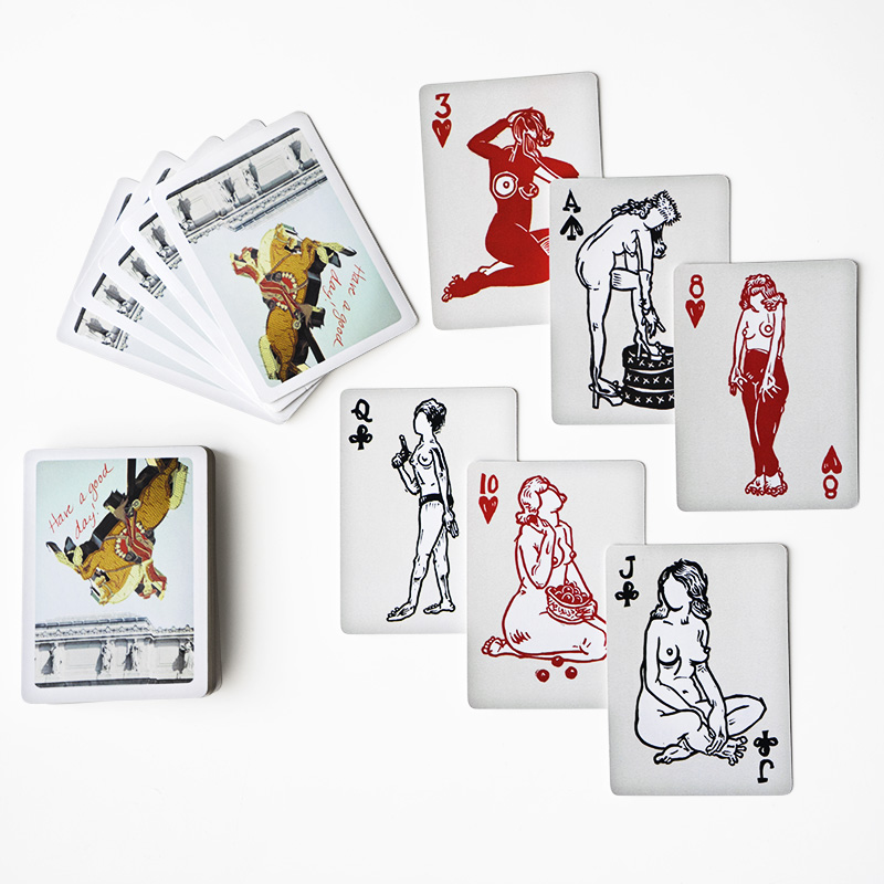 A deck of  fully-functional playing cards with 54 unique images from my woodcuts. Each deck comes with a woodcut print from the series ( your choice while supplies last )