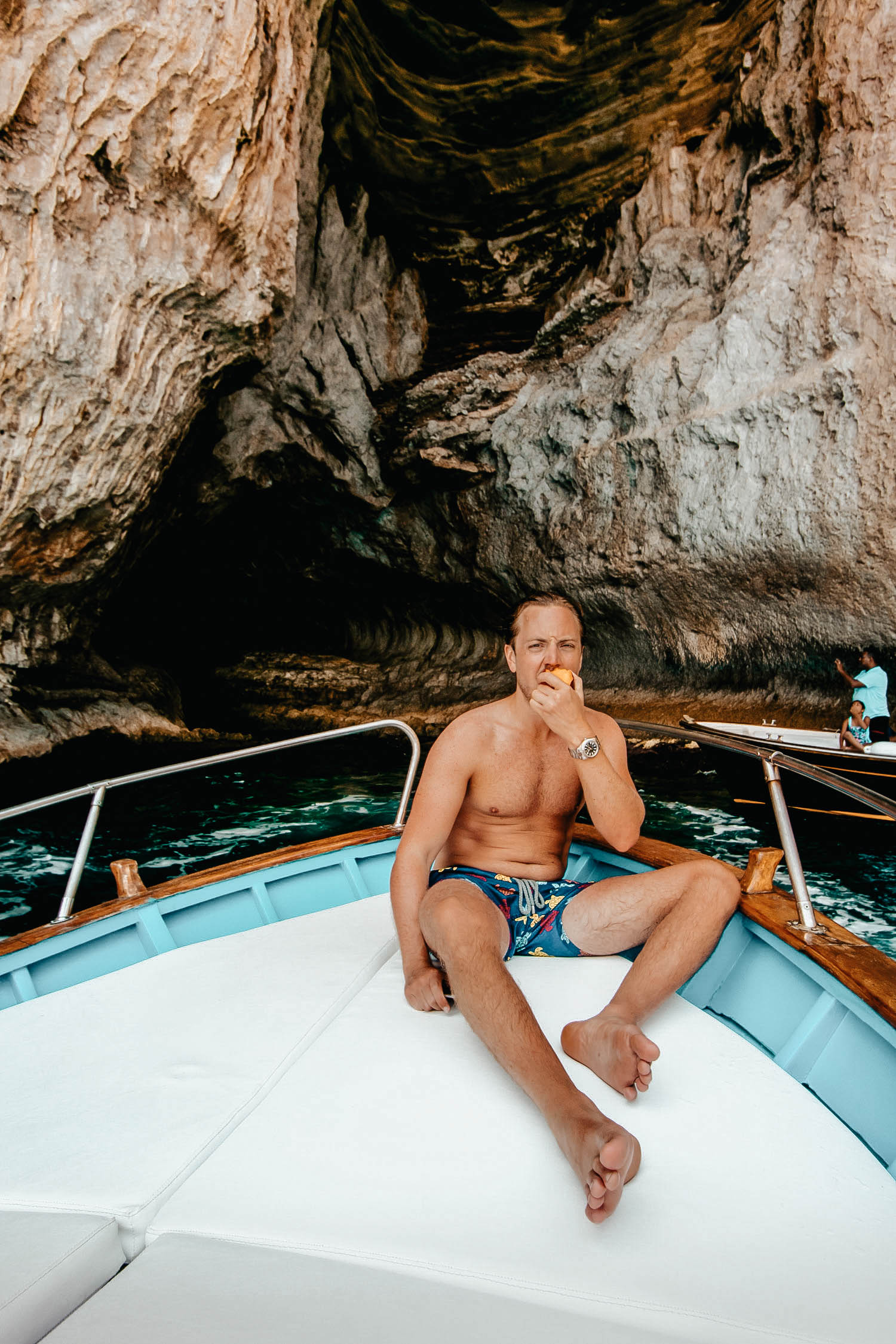 GUSTAF ON A BOAT IN CAPRI, ITALY