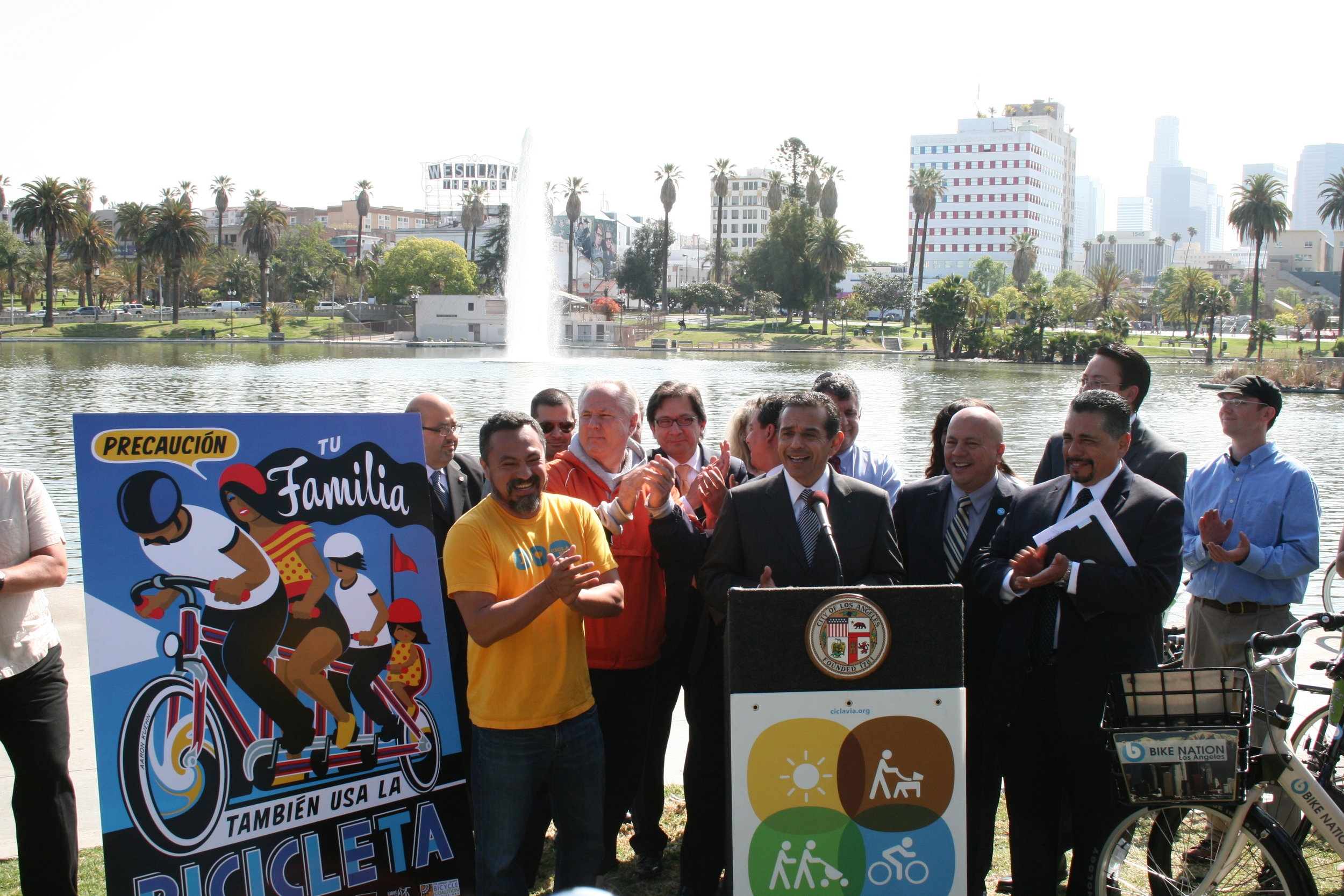 Mayor Villaraigosa presents PSA at a press conference on 4.5.2012