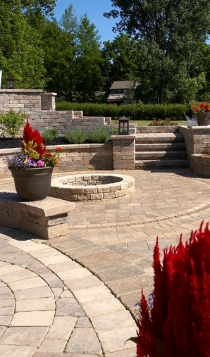 Outdoor fireplace landscape design by landscaping companies in Buffalo Grove, IL