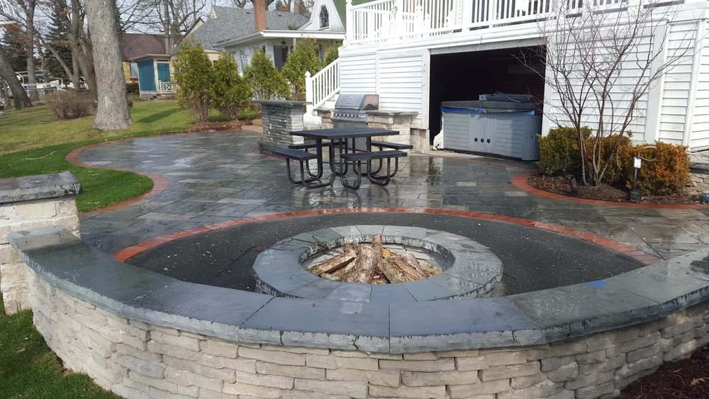 Landscape design in Wilmette, IL with fire pit