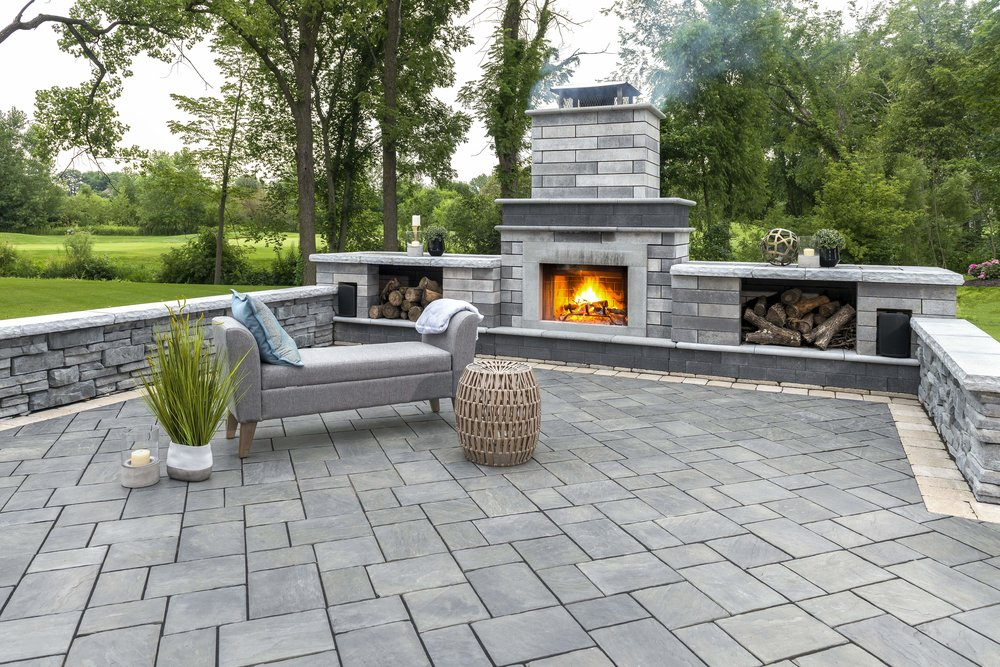 Illinois stunning landscape design in Northbrook, IL with outdoor fireplace