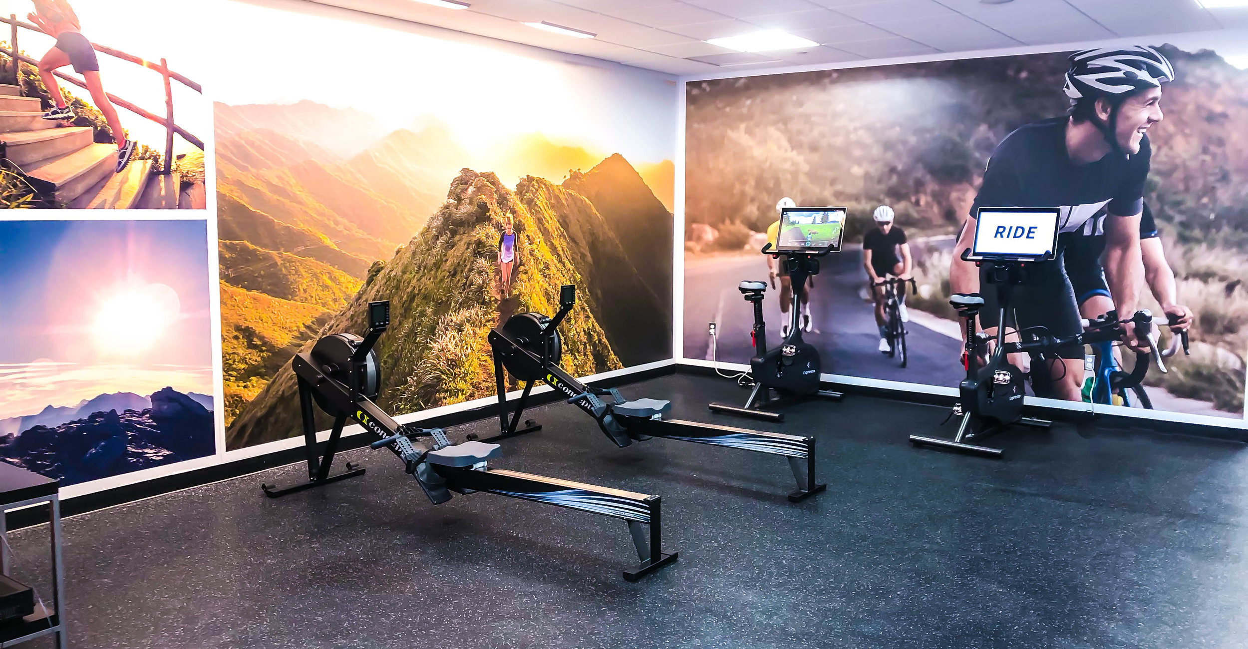 The ever-popular Expresso bikes and Concept2 rowers add to the fitness center's variety of workout options.