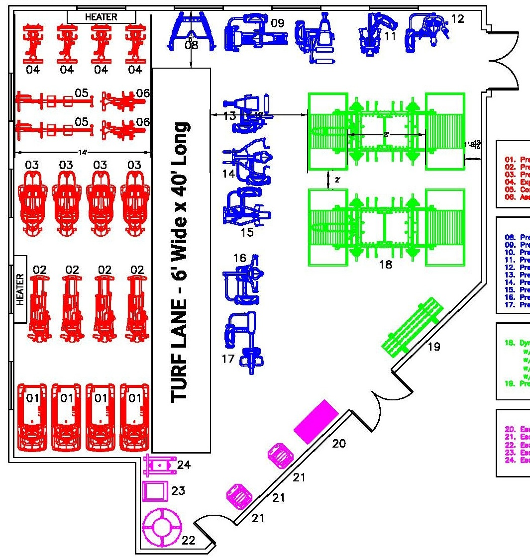 Final facility layout, completed in June 2019