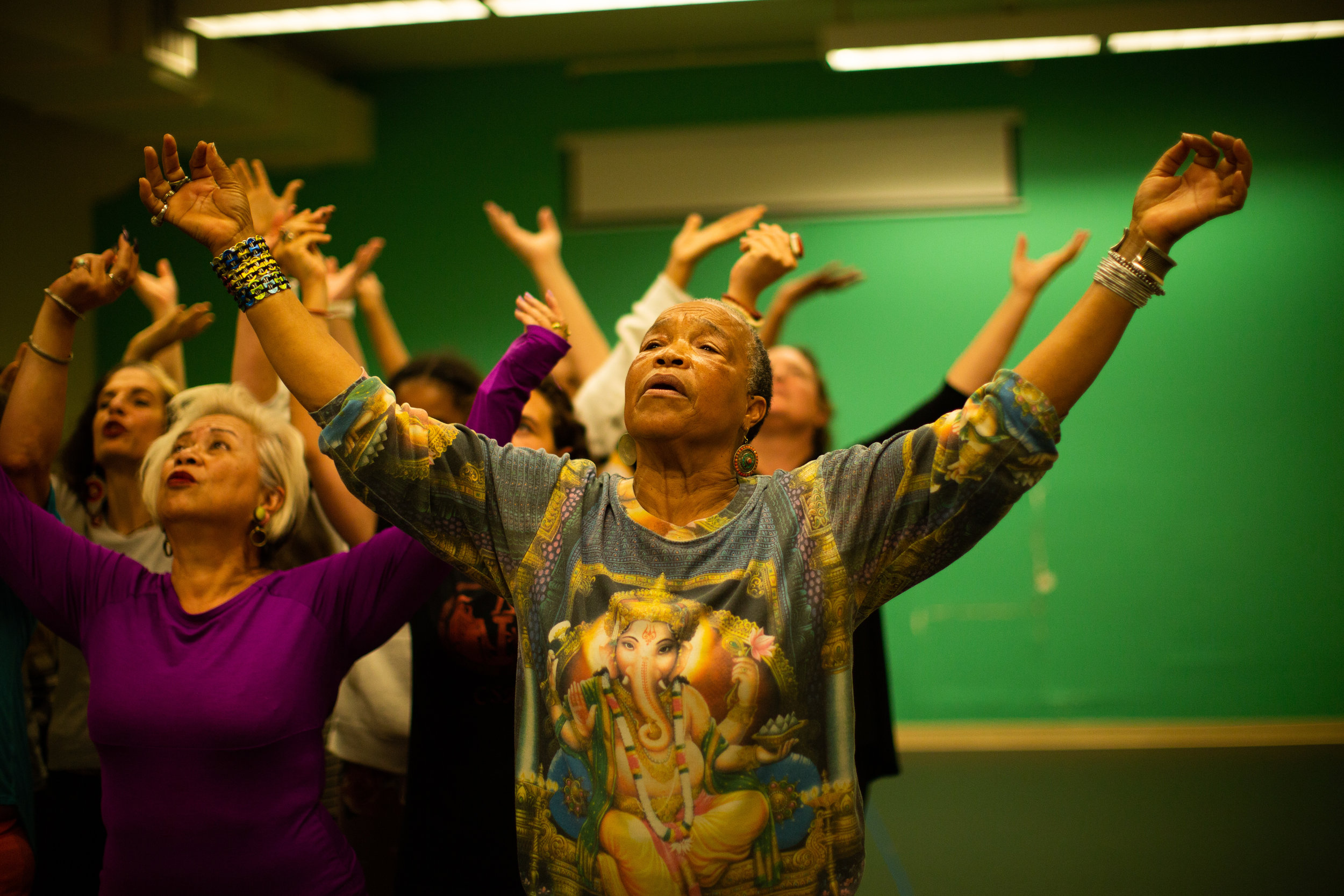 """Cast members of The Medea Project rehearse """"When Did Your Hands Become a Weapon?"""" Photo by Tumay Aslay"""