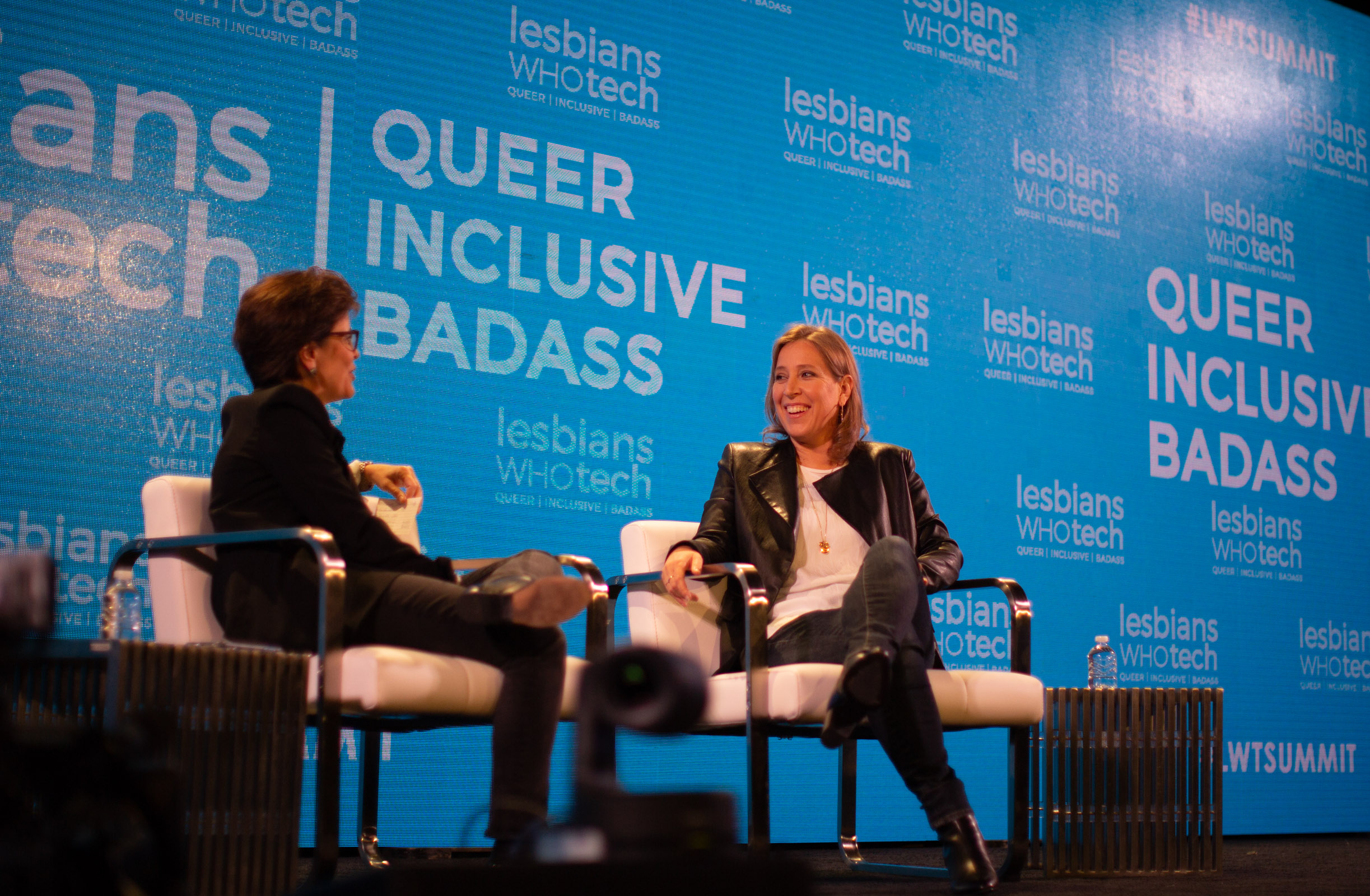 Kara Swisher, Recode co-founder and The New York Times columnist, and Susan Wojcicki, CEO of YouTube. Photo by Tumay Aslay