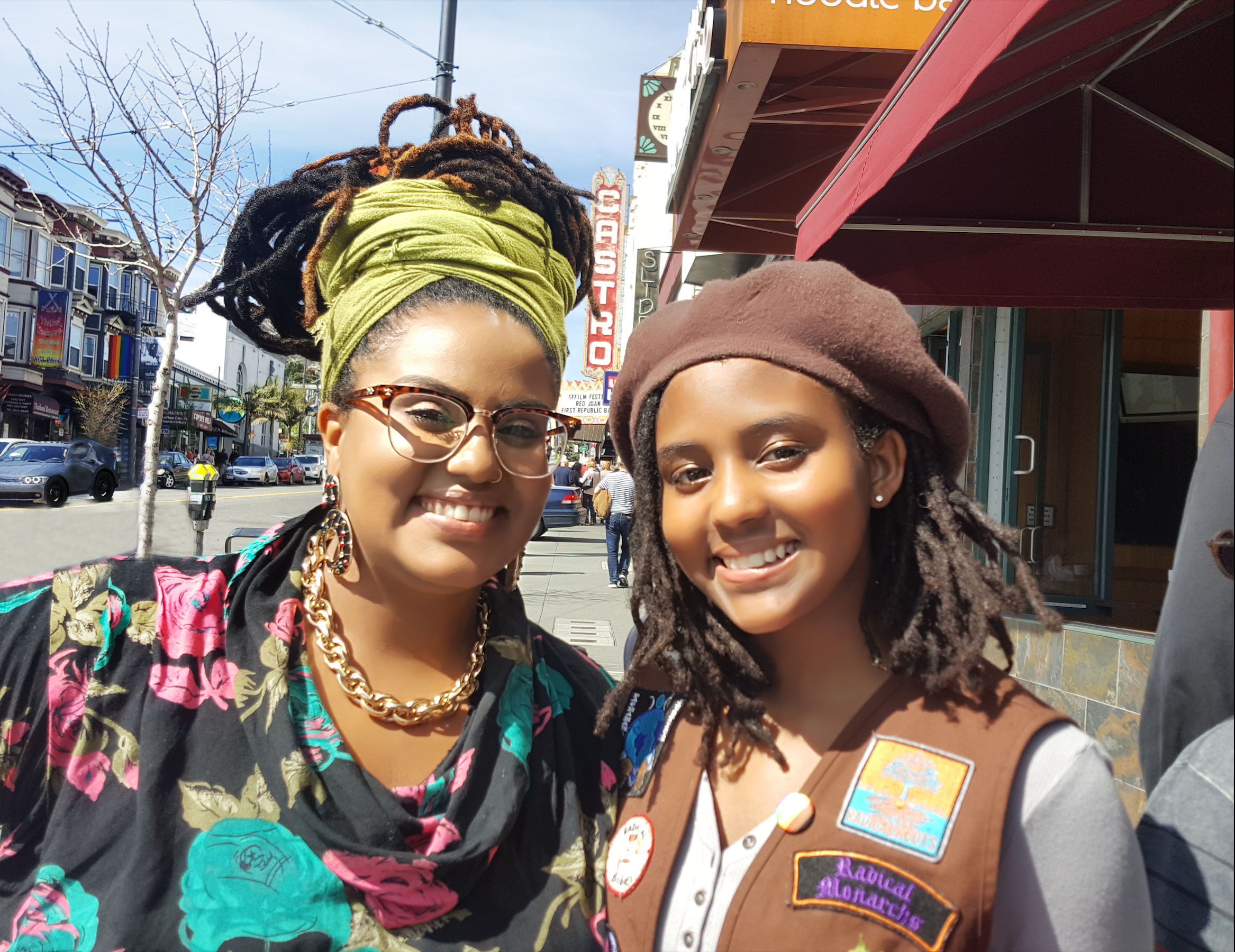 "Radical Monarch parent Jessica Allen (left) and Monarch Neveah Kelly after the screening of ""We Are The Radical Monarchs"" at Castro Theater. Photo by Karen Gullo"