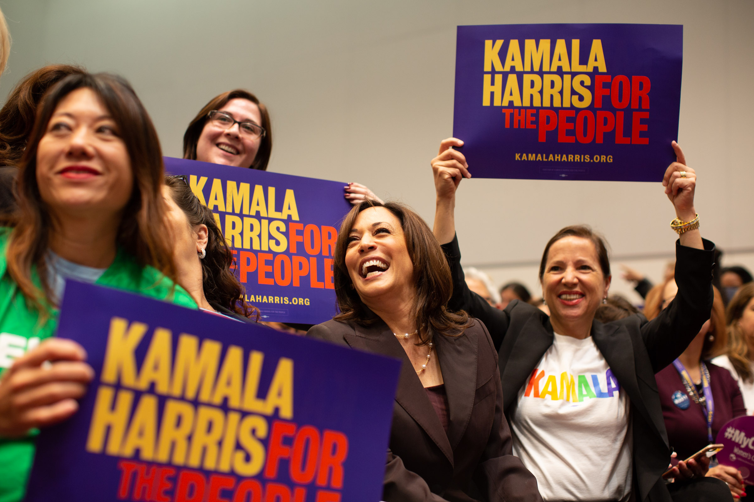 Senator Kamala Harris (center) and Calif. Lt. Governor Eleni Kounalakis (right) at Women's Caucus event June 1, 2019, at California Democratic Party convention at Moscone Center, San Francisco, CA. Photo by Tumay Aslay