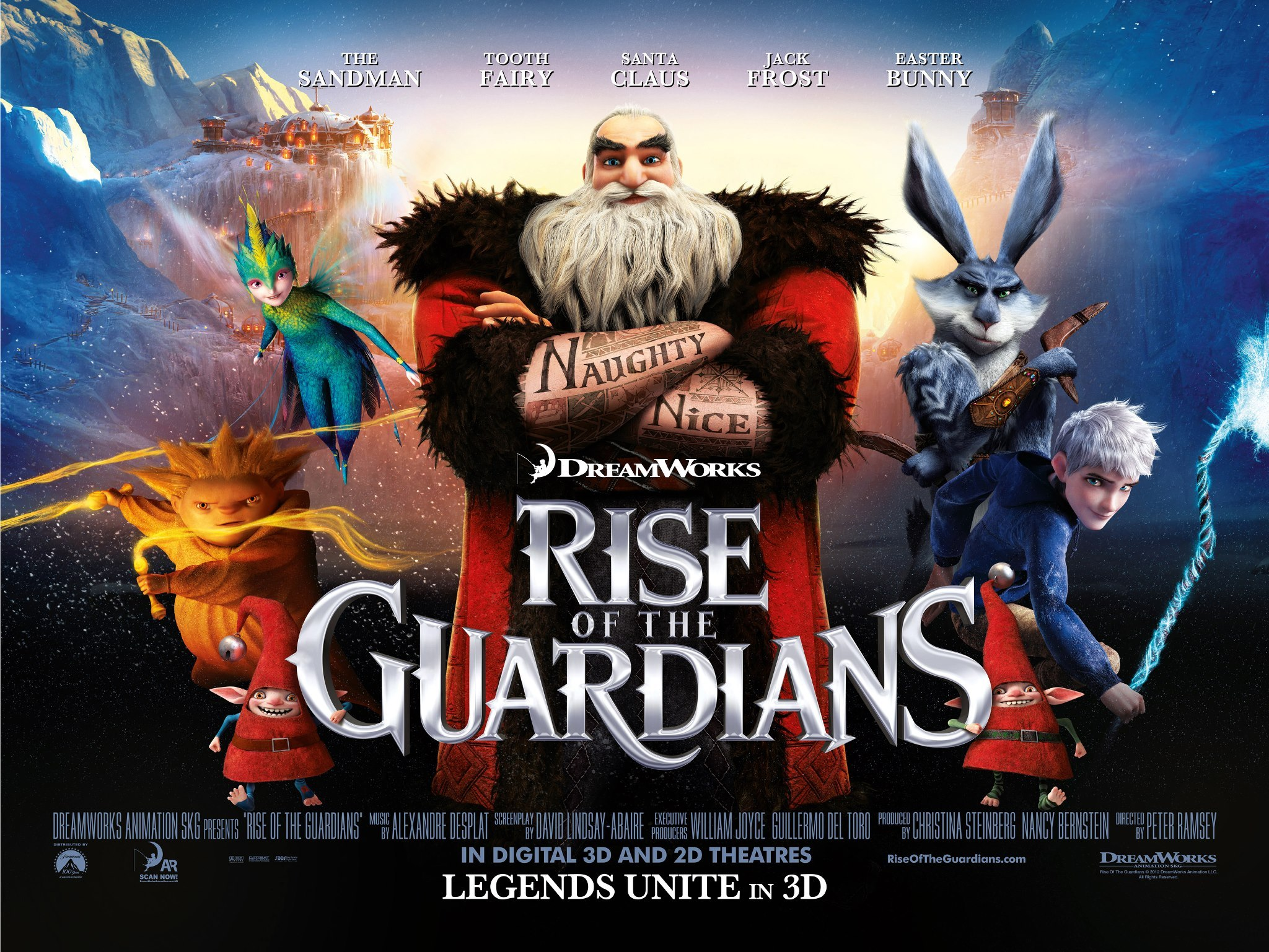 RISE OF THE GUARDIANS  |  DREAMWORKS ANIMATION | Conçu chez Reel FX Animation Studios en tant que THE GUARDIANS OF CHILDHOOD par William Joyce  | 2009