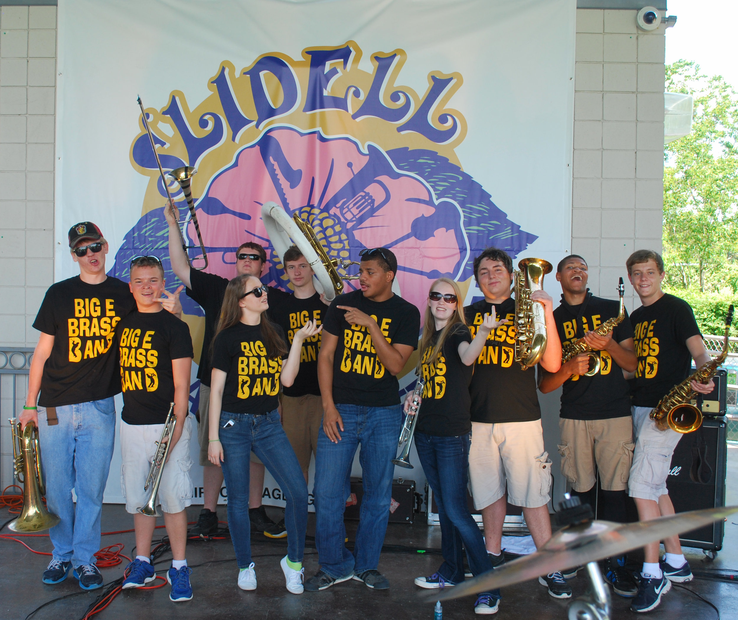 Big E Brass Band; a group of high school student musicians who performed at the Inaugural Slidell Jazz and Blues Festival.