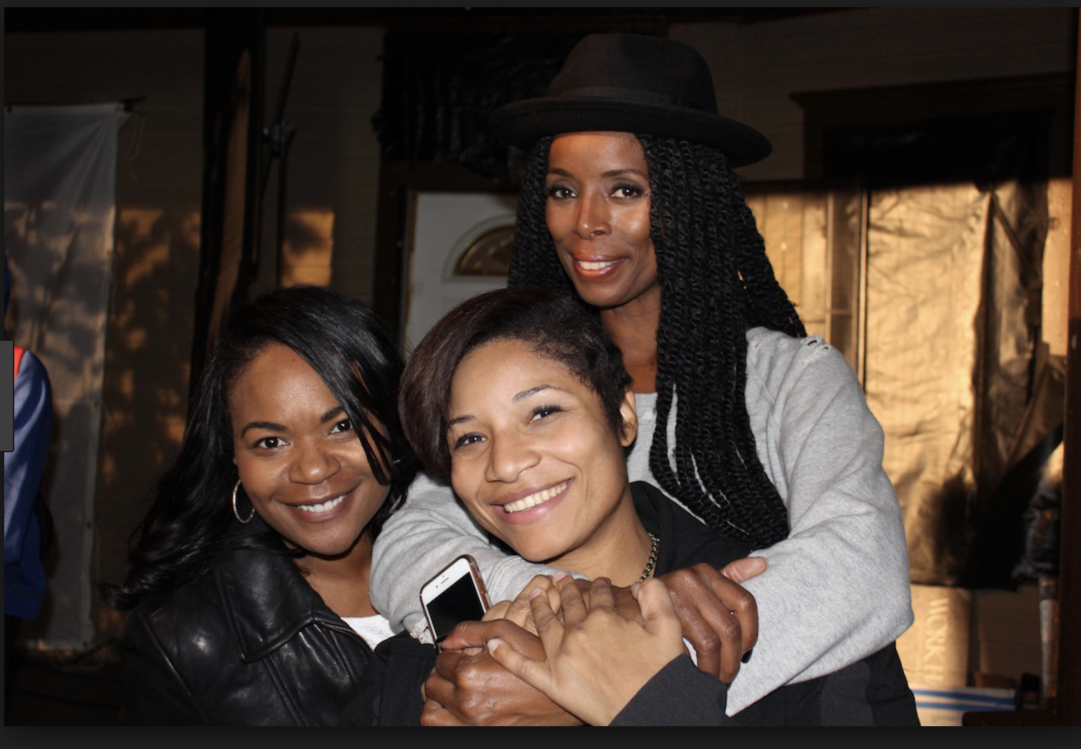 Tasha Smith and Tosha Whitten-Griggs on the set of When Love Kills: The Falicia Blakely Story that Tasha directed