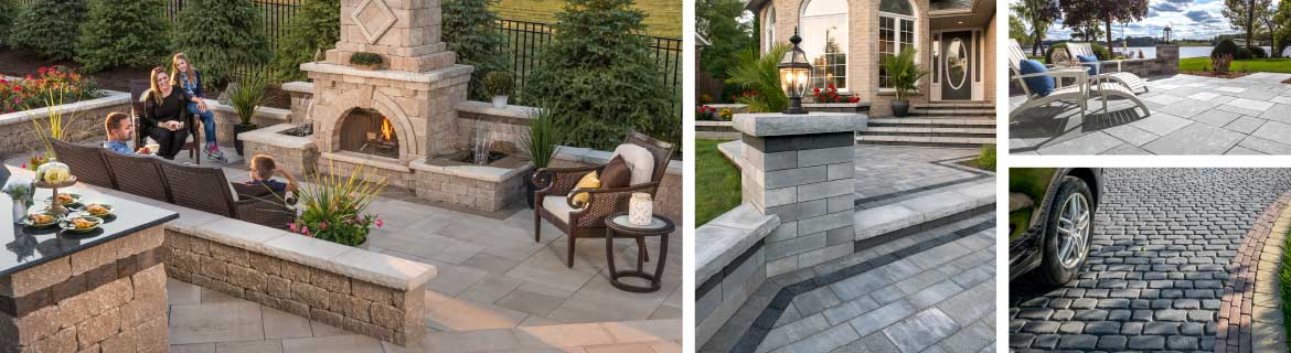 Improve your outdoor frieplace, brick driveway and brick patio with Unilock financing in Burr Ridge, IL