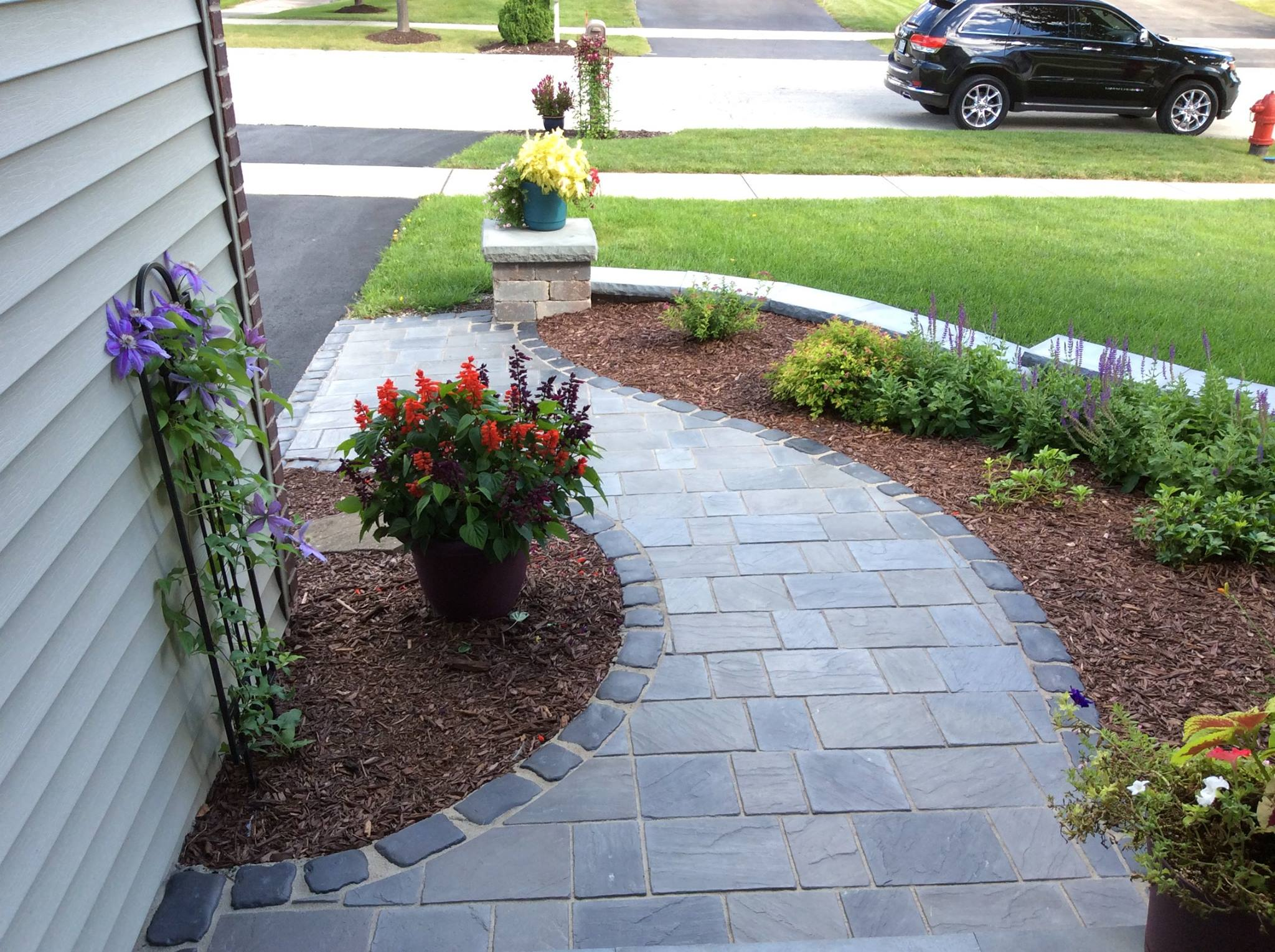 Redesigned brick paving walkway in Hinsdale, IL