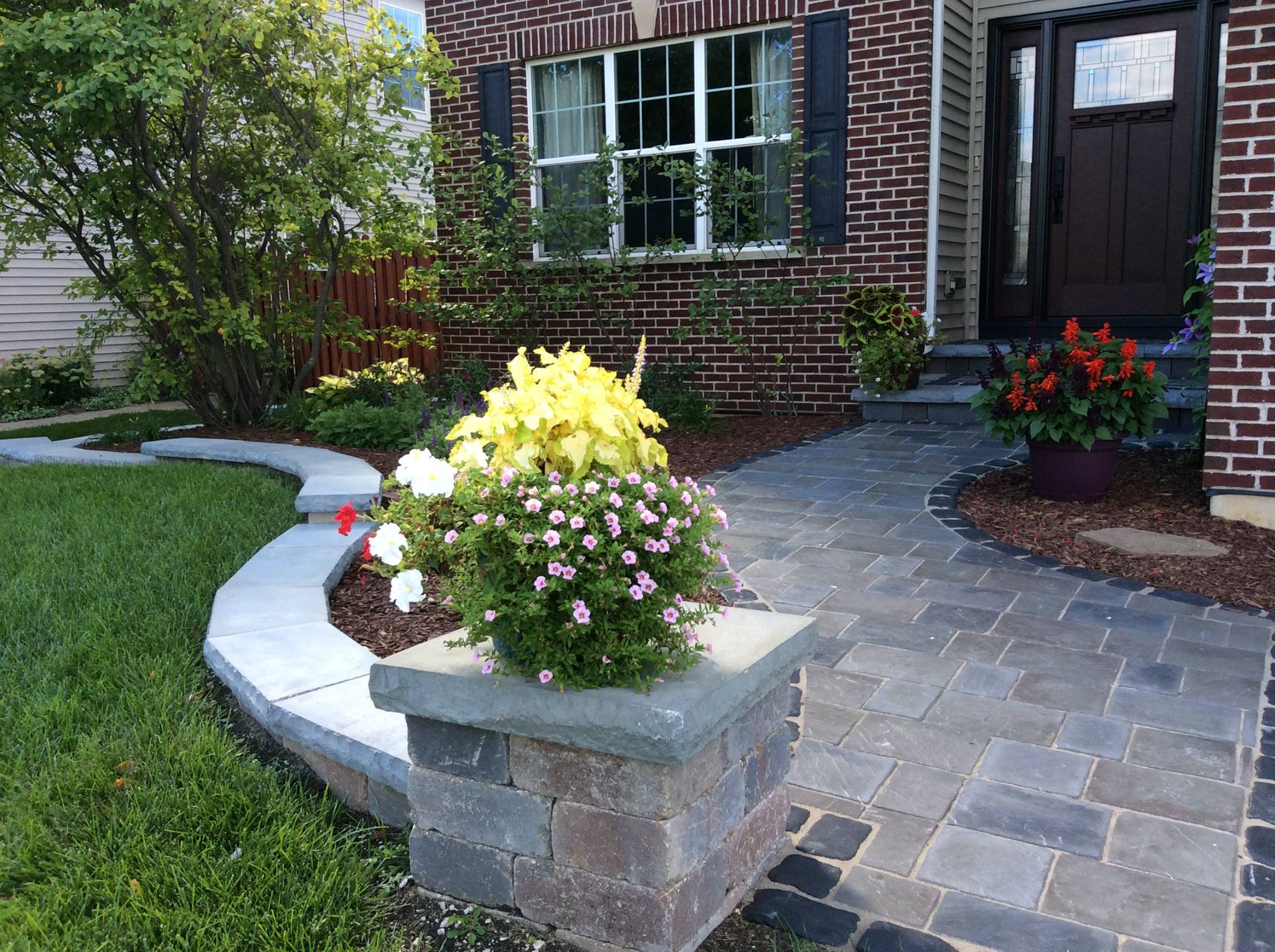 Landscaping improved with flowers in Oak Brook, IL