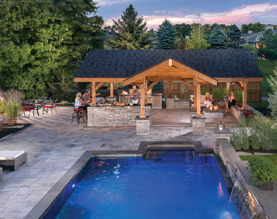 Outdoor kitchen with a pool in Glen Ellyn, IL
