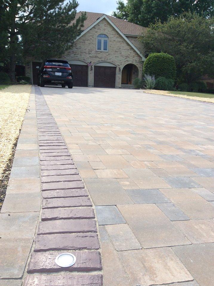 Oswego, IL brick driveway with Unilock pavers