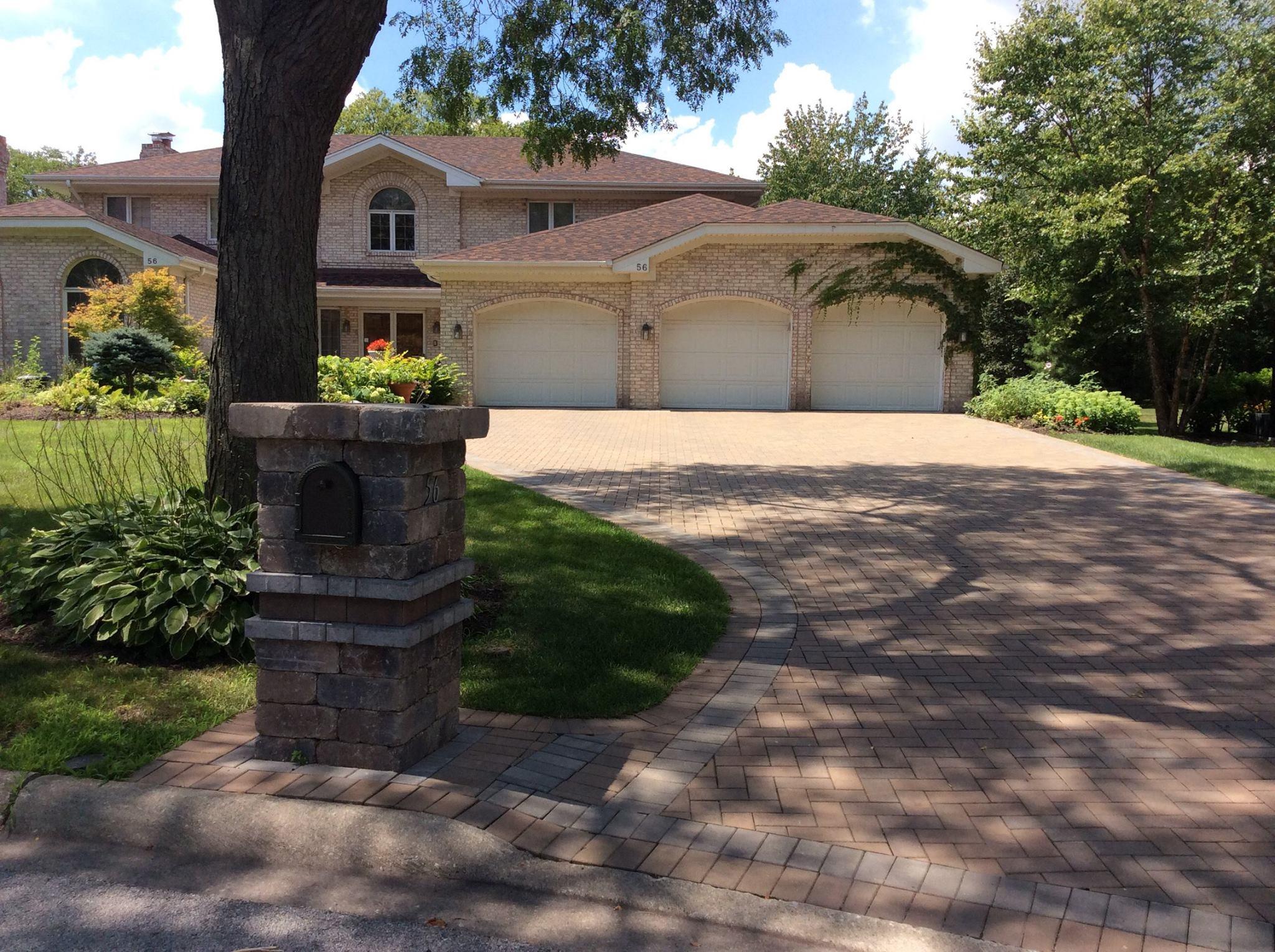 Landscape construction - brick driveway in Oswego, Illinois