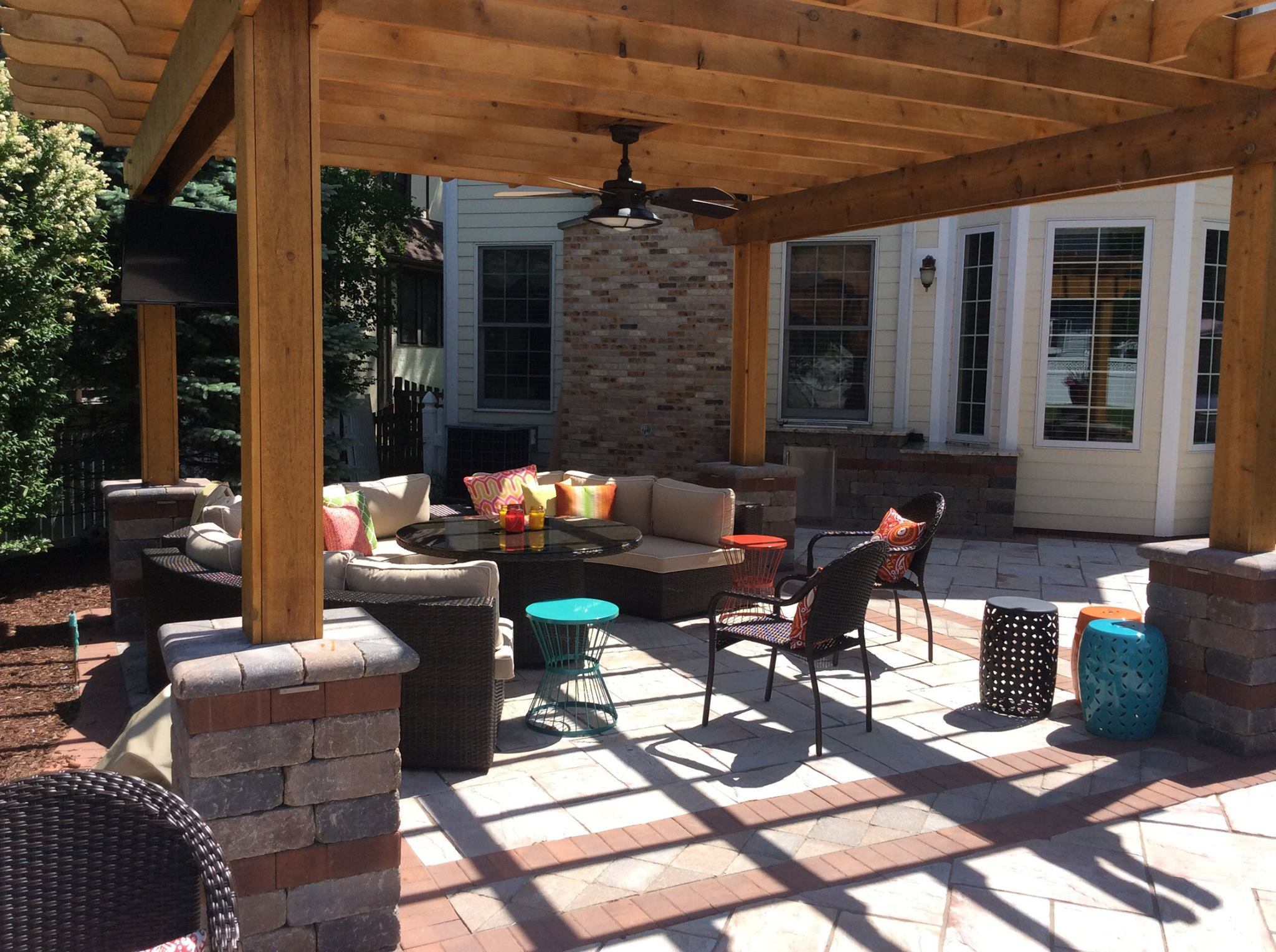 Outdoor kitchen and outdoor fireplace Naperville, Illinois