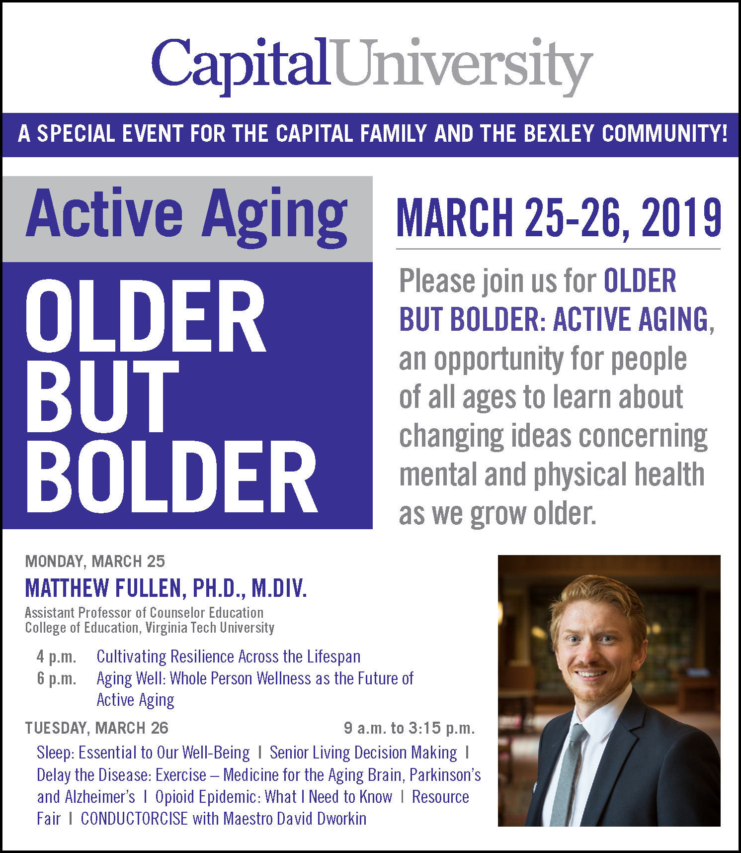 """Dr. Matthew Fullen served as the keynote speaker at Capital University's 2019 """"Active Aging"""" conference, where he shared his research on the importance of resilience and wellness when working with older adults."""