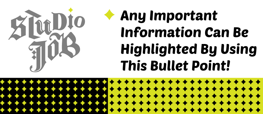 """Taken from the dot of the """"i"""" the bullet point serves as an ornamental call to action. Use to draw attention to dates, times, and other important information. This can also be used to create a pattern that can be applied to add a fun decorative element to your design."""