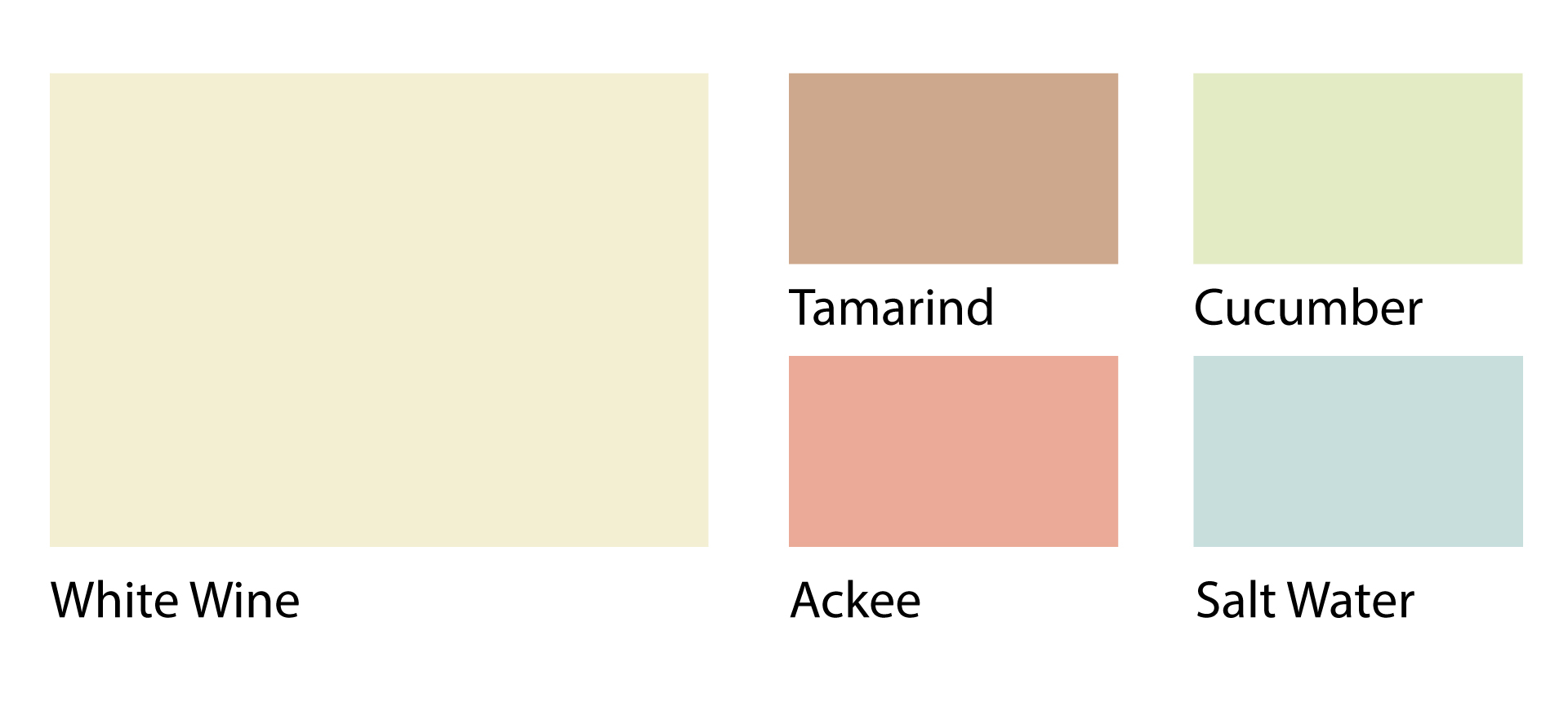 Yardy's color palette reflects elements of Jamaican cuisine and culture. All colors are pastel tones as to allow additional elements to standout more.