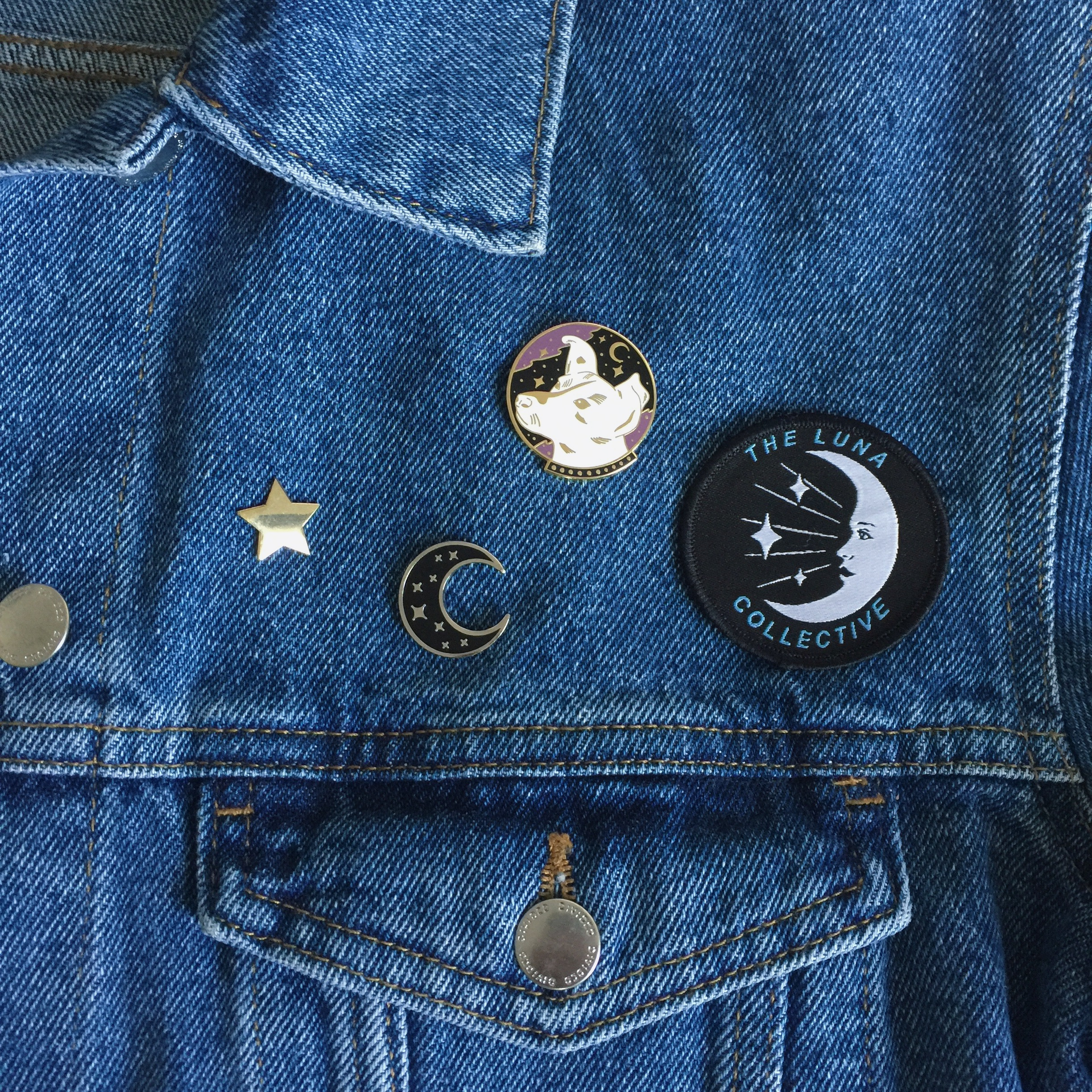 The Luna Collective logo patches