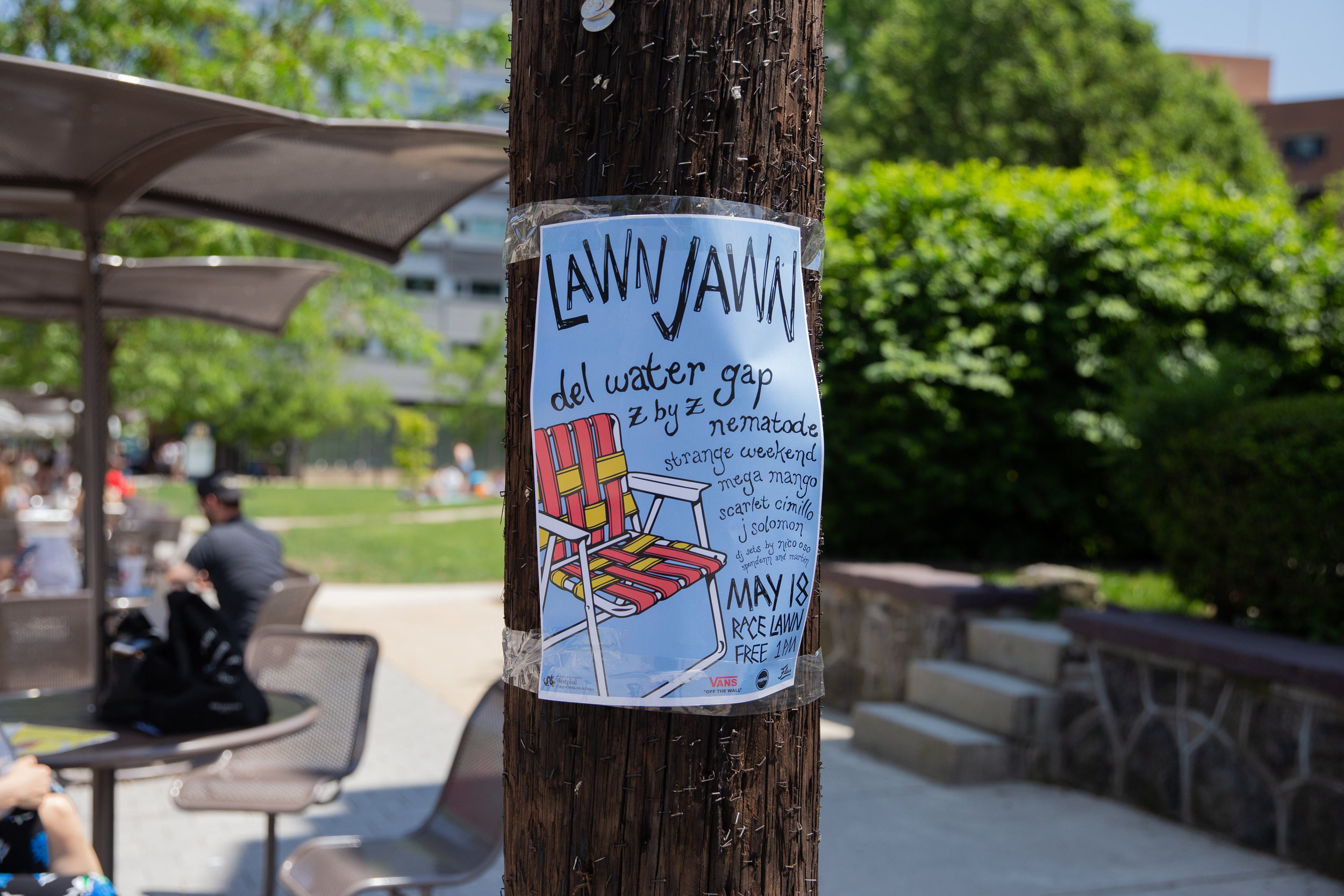 Poster hung up on festival site