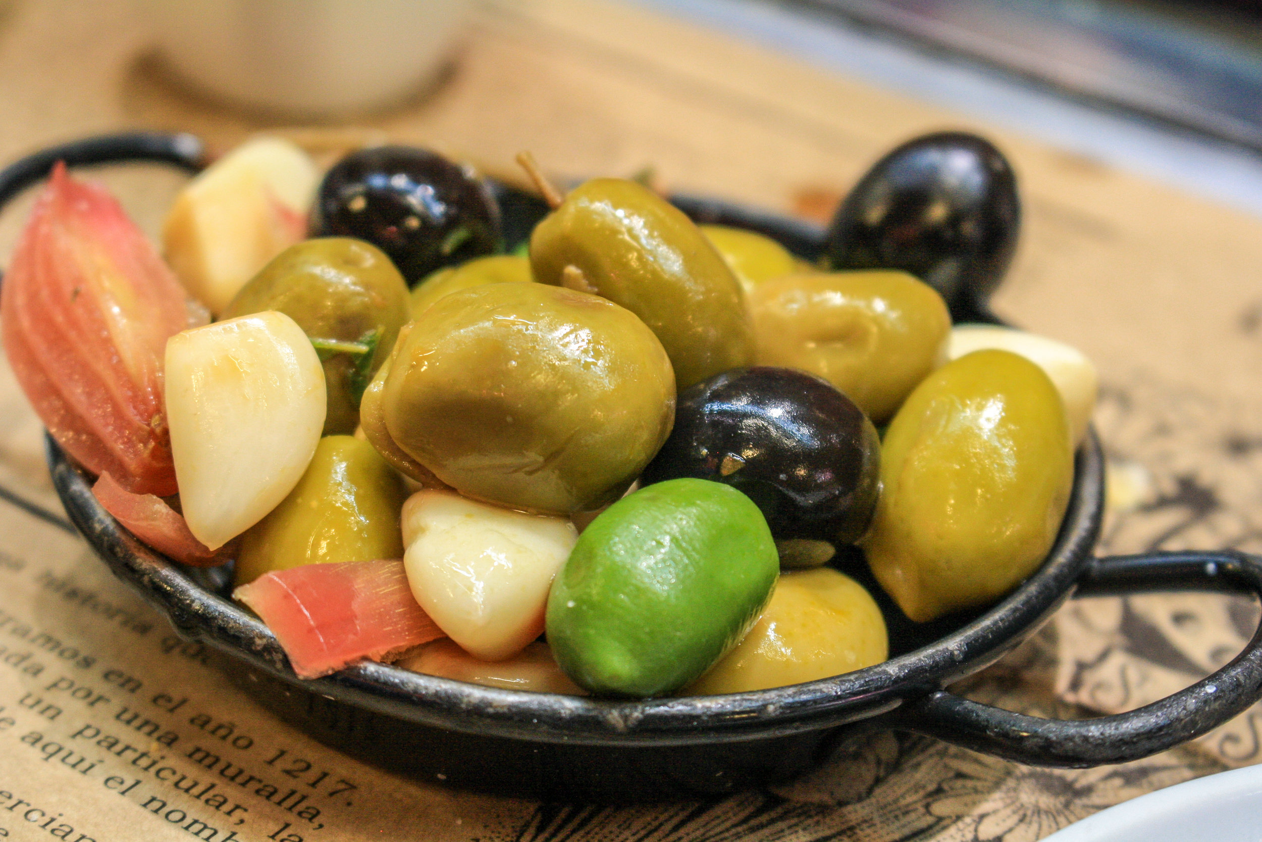 A tasty snack that's super healthy too–fresh olives in southern Spain.