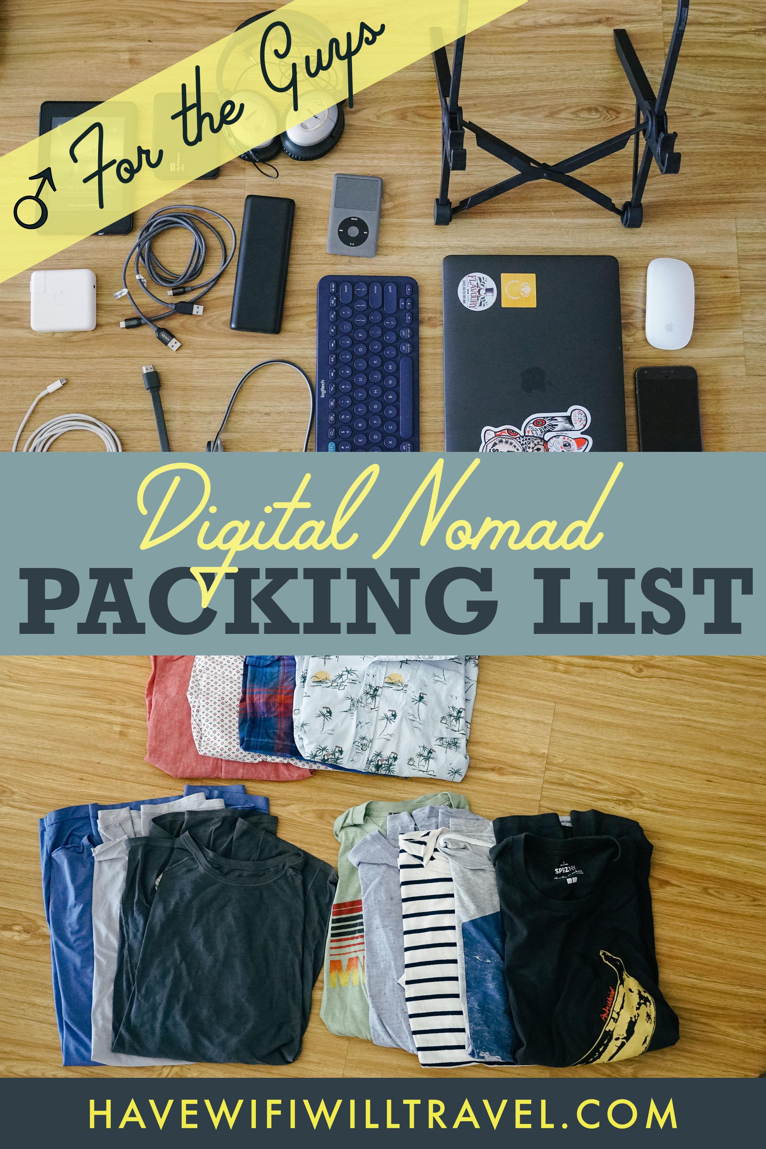 Digital Nomad Mens Pack List