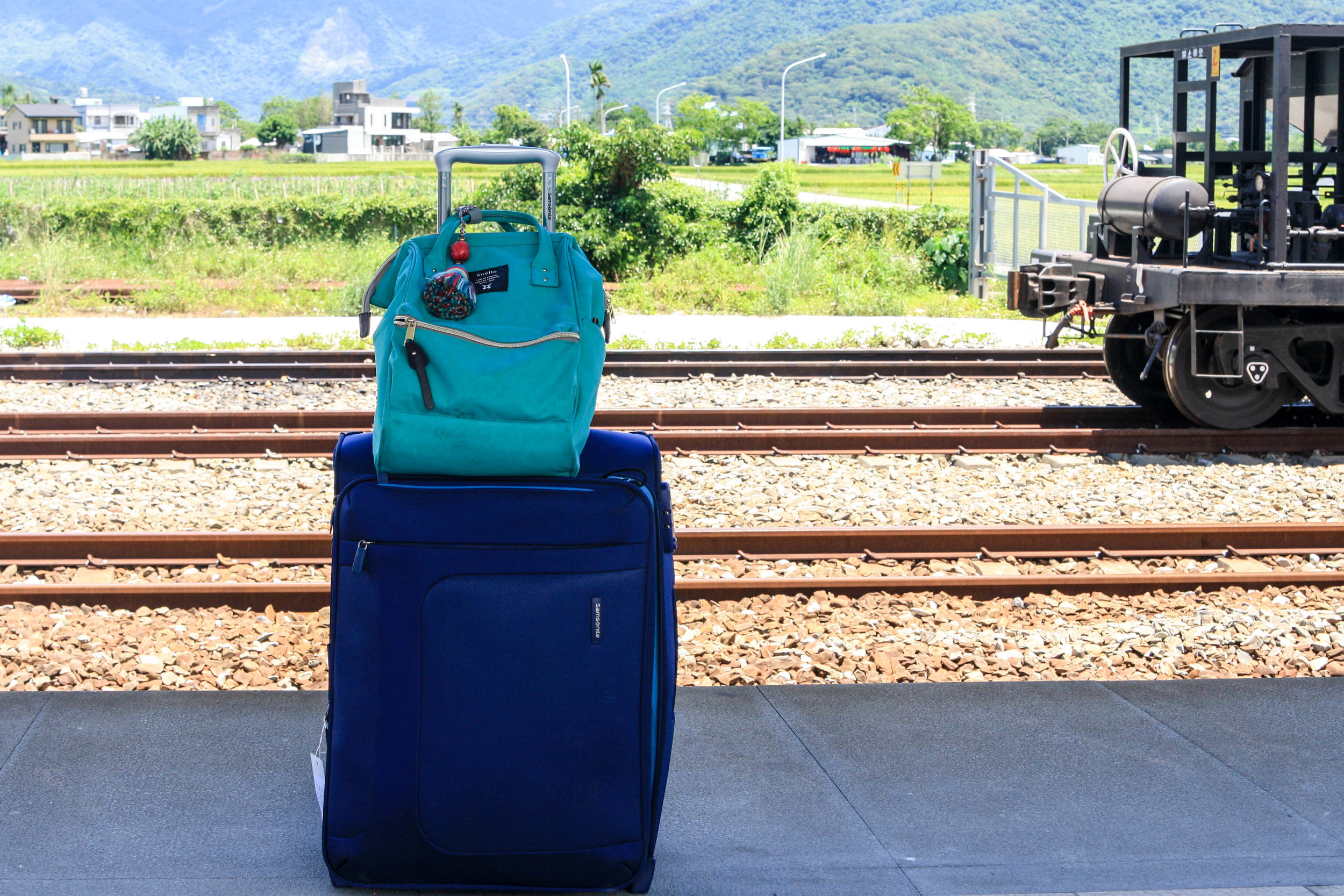 My favorite samsonite suitcase with a daypack I bought in Taiwan
