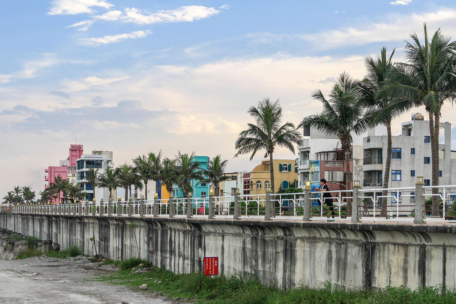 Coastal Hualien; a bike/walking path runs along the entire coastal border of the city.