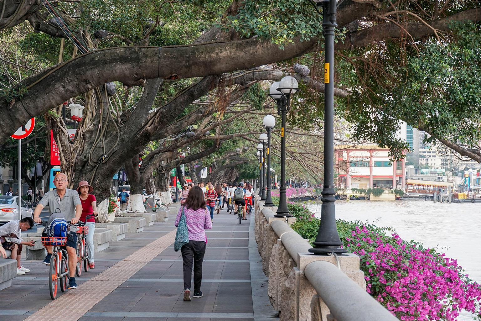 Lovely riverfront walking path in Guangzhou.