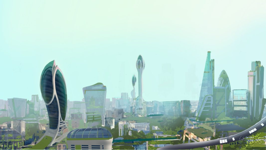 Above: Concept art from Ring of Fire of London in the year 2062 with lush green overgrowth spread out across its utopian skyline.